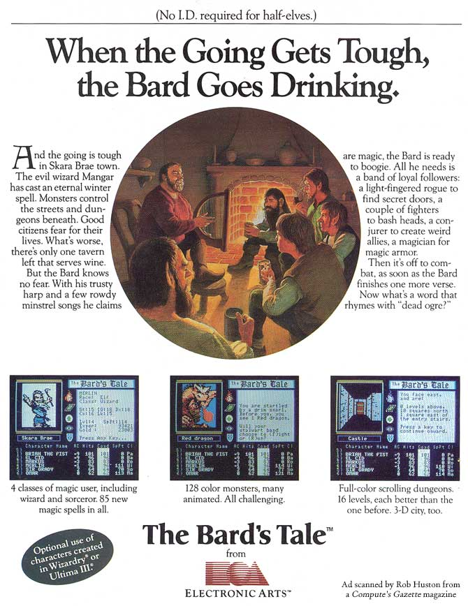 Advertisement for The Bard's Tale
