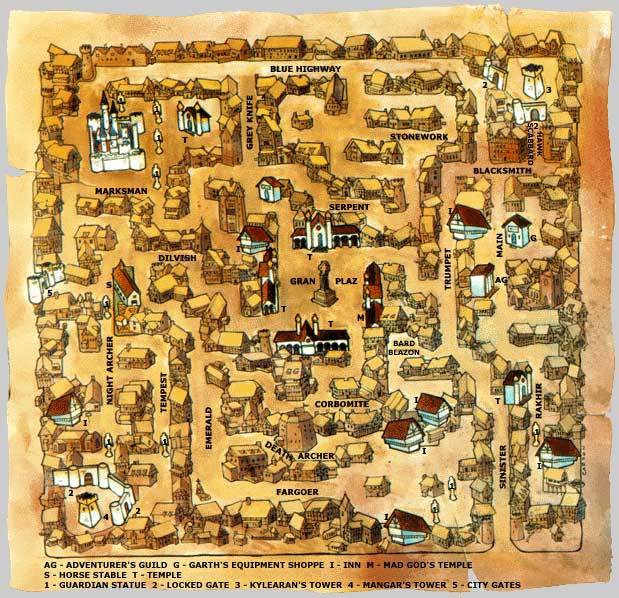 Skara Brae map for The Bard's Tale, by Don Carson